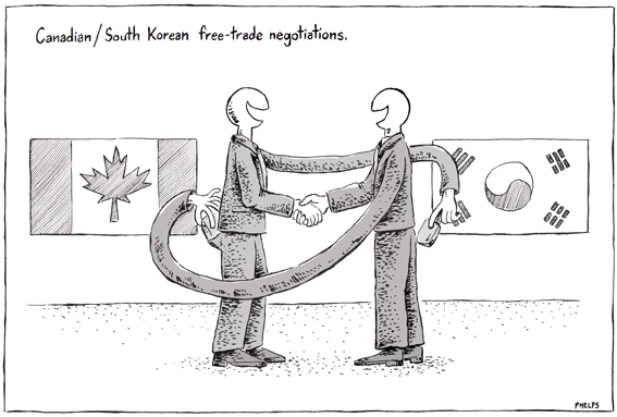 Stephen Harper is in South Korea negotiating a free trade deal.