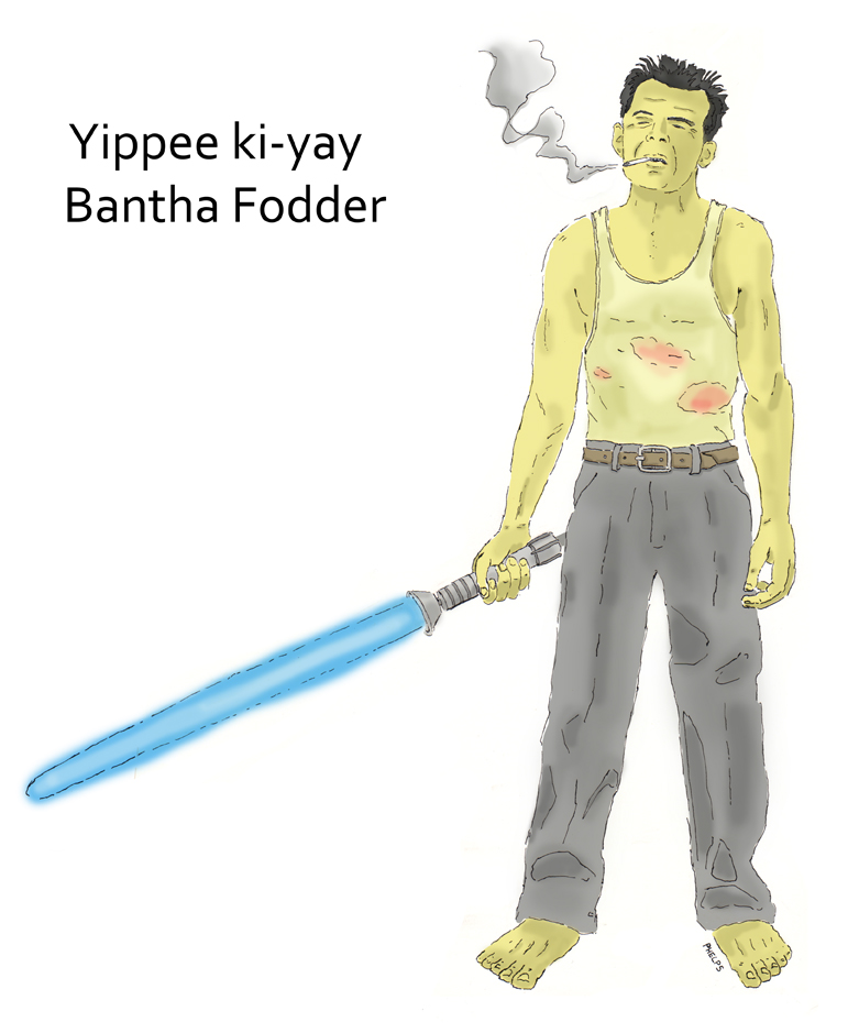 John McClane (from Diehard) with a lightsaber.