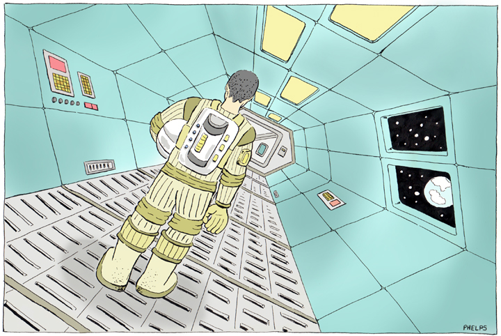 Astronaut in space station hallway.