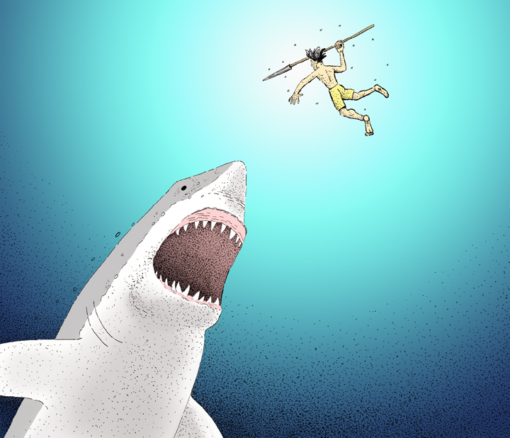 Giant Shark attacking guy with a spear.